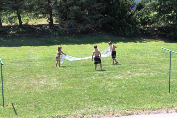 My brilliant idea of the day.  Make a slip-n-slide.