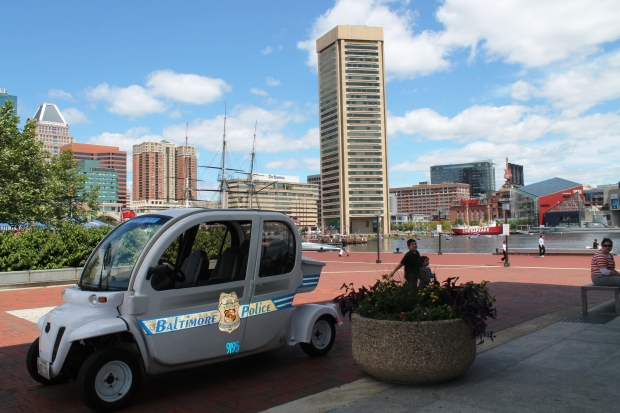 My first view of Inner Harbor.  Nice cop car--Maryland cops must not eat donuts.