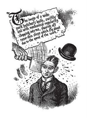 Kafka's envisioned injury by a butcher's cleaver.