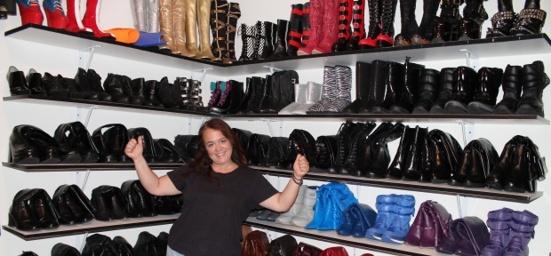 I was absolutely speechless walking into this room of boots and shiny clothing!