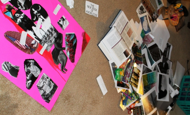I sat at the empty spot on my living room floor and began placing my materials from the pile onto the poster board.