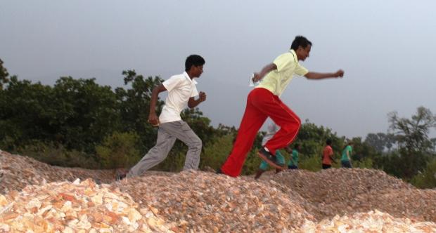 sprinting across the stones