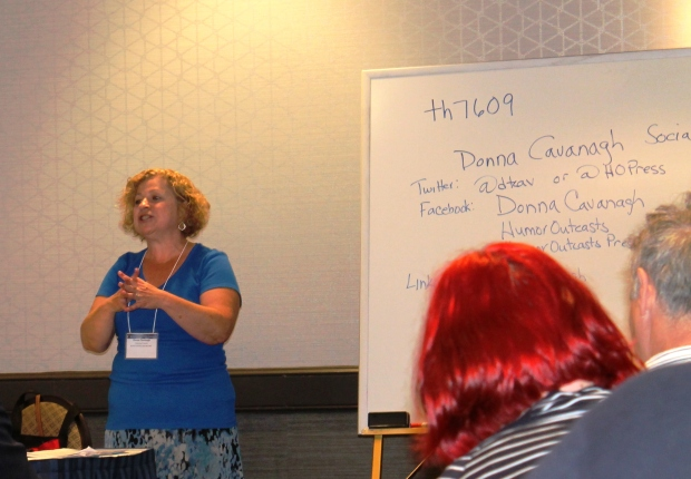 Donna Cavanagh gives a workshop on humor writing. She is the owner of HumorOutcasts.com.