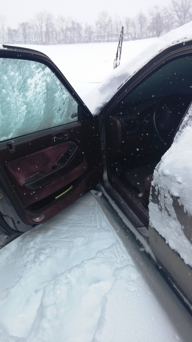 The snow was up to the bottom of my car door at 2:30.